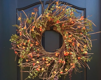 Fall Wreath, Wreaths, Wreath,Fall Wreath for Front Door, Fall Outdoor Wreaths, Sunburst Wreaths, Bittersweet Wreath, Fall Bittersweet Wreath