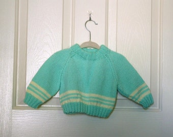 KInitted Green/Cream Baby Striped Sweater