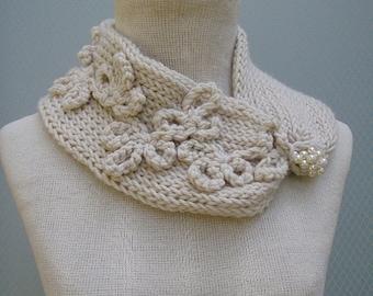 Knit accessories, women scarf, knit scarf, floral scarf, knit neckwarmer, handmade scarf, flower brooch, neckwarmer, warm scarf, knitting