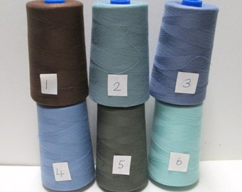 Serger THREAD Pic 2 Cones 6000 yds Each Coats Poly Thread Spools 12,000yd total u You Pick Lot