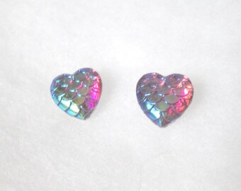 Dark Purple Iridescent Heart Shaped Mermaid Scale Earrings