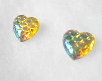 Yellow Iridescent Mermaid Scale Earrings