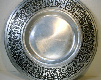 Wilton TM Country Ware 1976 Pewter Plate, Item  915, with Prayer, Grant Us Peace Thy Most Precious Gift