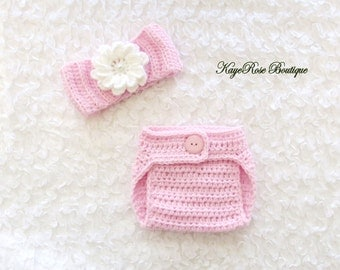 Newborn Baby Girl Crochet Flower Headwrap and Diaper Cover Set Pink and White
