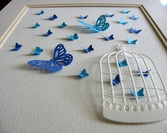 3D Vintage Ivory Bird Cage with Fluttering Butterflies in Turquoise & Blue Shown or Your Choice of Colours. 8x10 inches