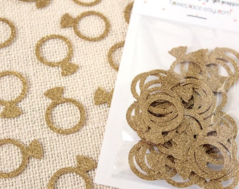 Gold Diamond Ring Glitter Confetti - 50 pieces - Bridal shower, Table confetti, Engagement party