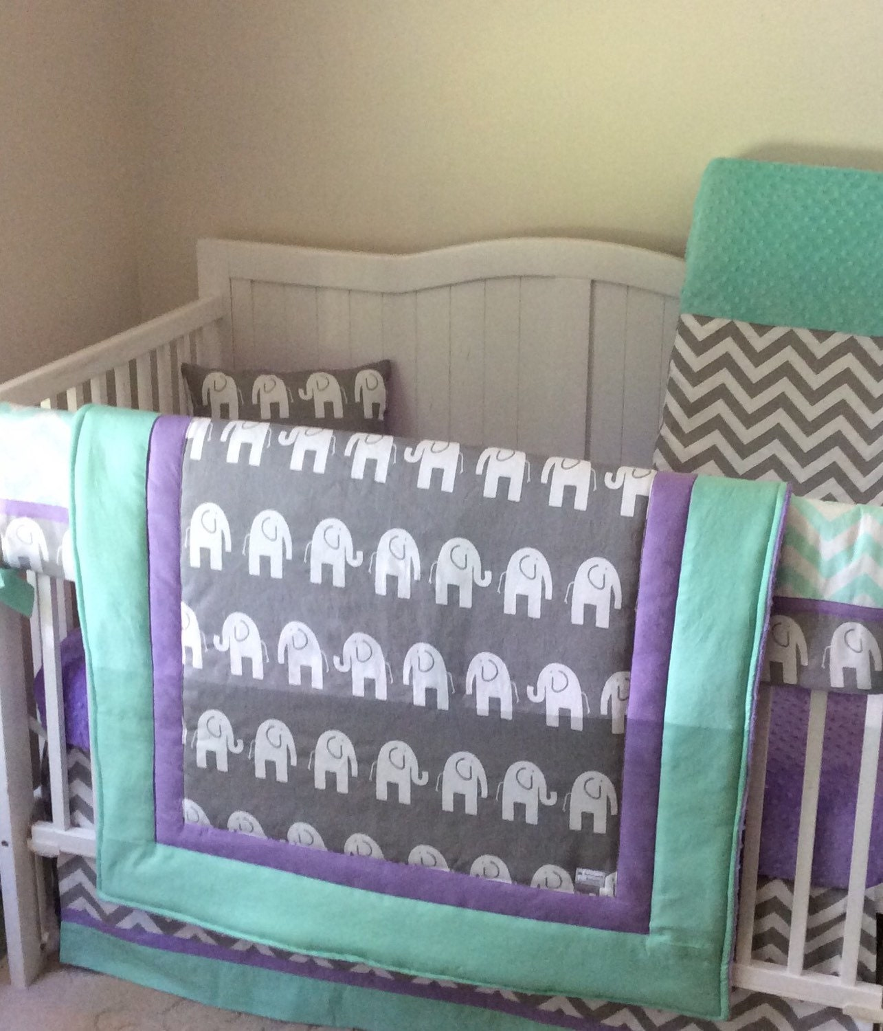lime green navy and gray baby bedding by butterbeansboutique. Black Bedroom Furniture Sets. Home Design Ideas