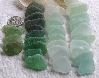 39 Sea Glass Imperfections Dangles Top Drilled 1.5mm holes Supplies (1654)