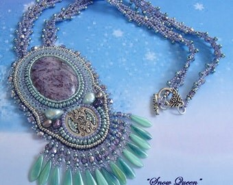 Snow Queen - Bead Embroidery Bead Woven Statement Necklace