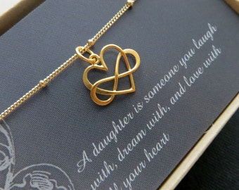 Gift for bride from mother, Entwined infinity necklace, infinity heart necklace, gold or sterling silver, gift for daughter