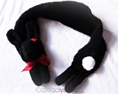 Black Bunny Rabbit Scarf with Red Roses