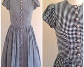 Vintage 1960s Austrian Dirndl Dress w/ Amazing Buttons S