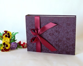Photo album - deep plum brocade -6x8in 15x20.5cm- 30pages - Ready to ship