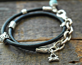 Rustic black leather sterling silver double wrap bracelet Artisan Charm dog dragonfly hearts and life