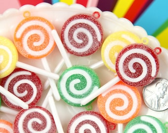 Fake Lollipop Charms - 25mm Sugar Coated Swirly Plastic Lollipop Charms or Resin Pendants - 4 pc set