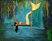 "Mermaid Art Print Mermaid Painting Wall Art Mermaid Theme Fantasy Art Print  Calm Calming ""Mermaids Calming Lagoon"" Leslie Allen Fine Art"
