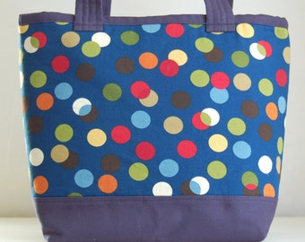 Scattered Dots on Navy Fabric Tote Bag - READY TO SHIP