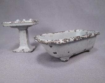Vintage Kilgore Iron Dollhouse Furniture - Bathroom Sink and Tub - Blue Enamel