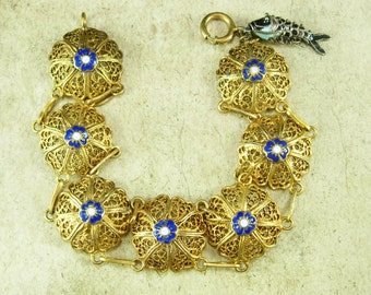Antique Chinese enamel Bracelet articulated enamel fish fob charm baroque filigree detail cobalt blue enamel Edwardian era gilt silver