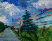 "Road to Sunken Meadow - Original Acrylic Oil Encaustic Landscape Painting - 8""x  10"""