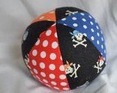 Baby Toy Cloth Ball PIRATE Skulls Jingle Ball