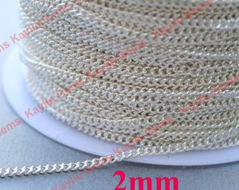 BRASS Silver Plated 2mm Twist Curb Chain Soldered Close Link Strong, High Quality