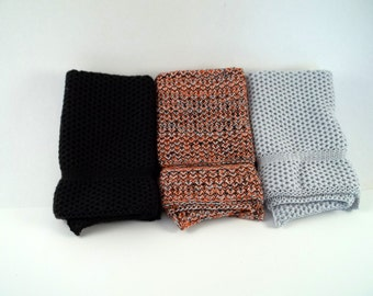 Dishcloths Knit in Cotton in Black LtGrey and BlackOrangeLtGrey
