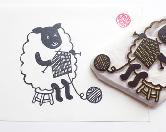 mama sheep hand carved rubber stamp. knitting yarn stamp. farm animal stamp. diy birthday christmas gift wrapping. holiday scrapbooking. XL