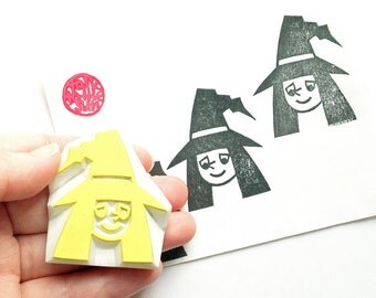 halloween stamp. witch hand carved rubber stamp. wizard stamp. halloween scrapbooking. boy's birthday gift wrapping. party prop card making