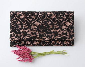 Pink and Black Clutch, Pink Linen Clutch, Black Lace Clutch, Lace Wedding Clutch, Bridesmaid Clutch, Vegan Clutch, Old World Style