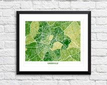 Greenville South Carolina Art Map Print.  Color Options and Size Options Available.  Map of Greenville SC.
