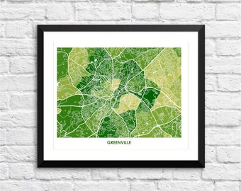 Greenville SC Map Print.  Choose your Colors and Size.  South Carolina Wall Art Poster.