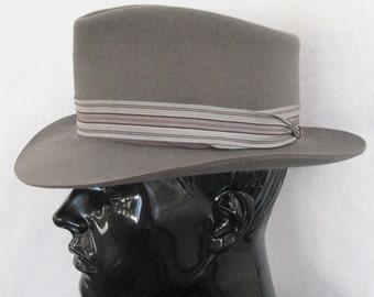 Men's Vintage Hat Gray Felt Fedora Wide Brim, Western Style Cowboy Dress Hat, Beaver Brand 10 X Imported Fur, 50s Style 1980's Custom 7 1/8