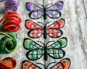DIY Kit  Crewel Embroidery Kit butterfly butterflies on a white wash board