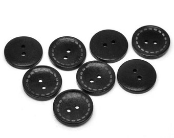 4 Black wood button with dotted Line 25mm  (BB108B)