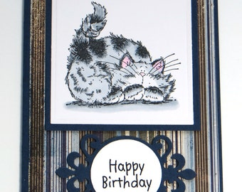 cat greeting cards - Cat birthday card  - birthday card - cat lover card - all occasion cards - hand stamped cards - hand colored cards