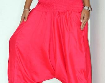 Fuchsia Harem pants/ Unisex Harem /Hippie Pants/Gypsy Pants/Romper/Genie pants/Yoga pant/Bohemian pants/wide leg pants/harem Pants/Jumpsuit