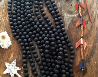 """15mm Natural Black Lava Rock Beads, 16"""" strand, 28 Lava Beads, Perfect for oil infusing and Jewelry Making / Gemstones, Yoga Jewelry"""