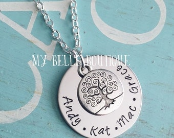 Personalized Hand Stamped Family Tree Necklace for Mom Grandma Present