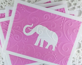 Pink Elephant Note Cards Embossed Blank Cards Thank You Notes by Lime Green Rhinestones