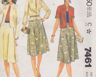 McCall's 7461 Misses' Jacket and Skirt Size 10 Vintage UNCUT Pattern Easy Pattern