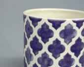 Geometric Quatrefoil Cylindrical Pot