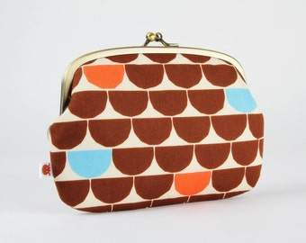 Metal frame purse with two sections - Half dots in brown orange and blue - Maxi siamese / Japanese geometric fabric / Modern graphic