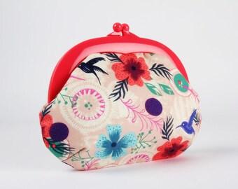 Plastic frame purse - Morning dew in dusty pink - Gamaguchi large / Neon pink kisslock purse / Wattsalot / Cotton and Steel / Honeymoon