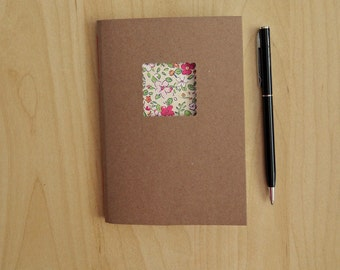 """Flower Notebook - handmade notebook with pink and white flowers - 4"""" x 6"""" - gifts for girls - ready to send"""