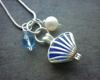 Shell Blue Sea Glass Necklace Locket Beach Glass Jewelry Charm