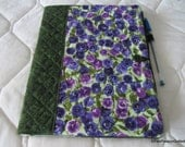 Quilted Journal Cover Purple Pansies with Notebook and Pen