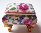 Vintage Tiny Hand-Painted Porcelain Trinket Box - Miniature Jewelry Casket  - Chintz Floral Pattern, Gold Gilt Trim - Classic Victorian Feet