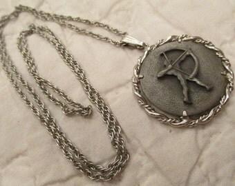 Vintage Sagittarius Pendant Necklace Pewter marked Anson SALE