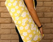 XL Handmade Yoga Mat Bag Tote Sling Sac Sack Carrier Tote Holder YELLOW BLOSSOMS with pocket, Cherry Blossoms